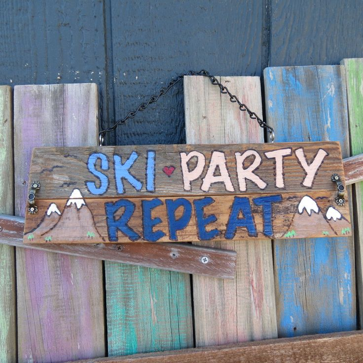 Ski Party Repeat sign, cabin decor, ski lodge decor, rustic ski gift - ready to ship! by Back40SignzTexas on Etsy