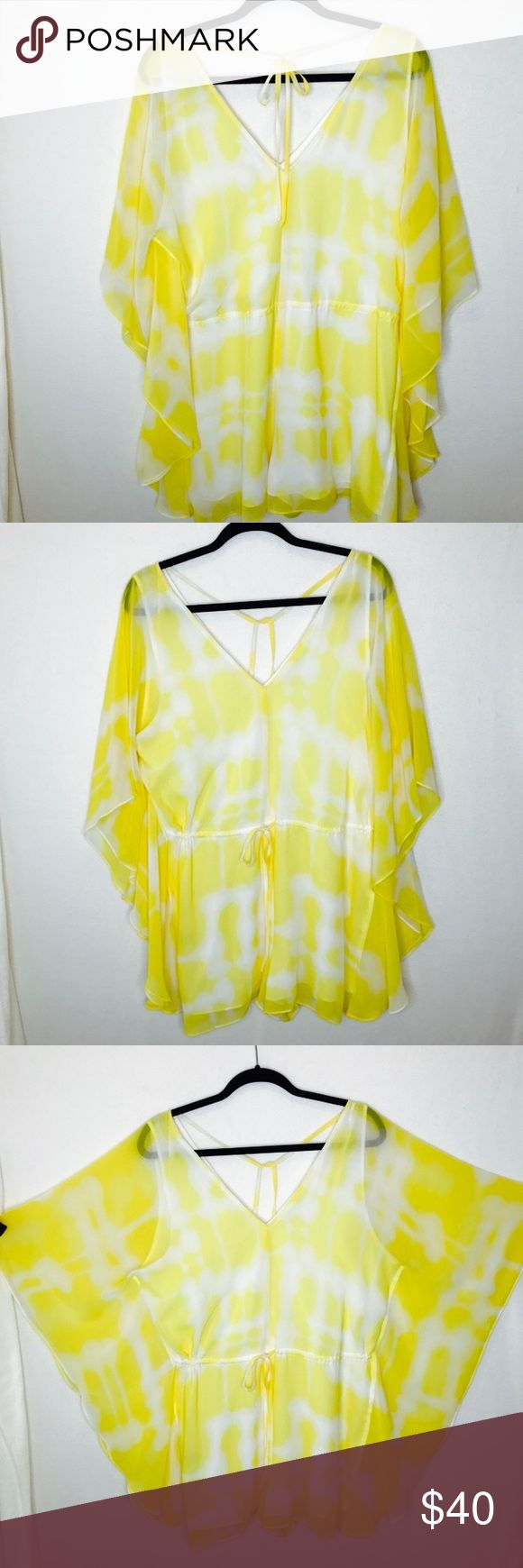 BCBG romper BCBG generation yellow and white ikat romper with butterfly sleeves and tie waist for cinching BCBGeneration Shorts