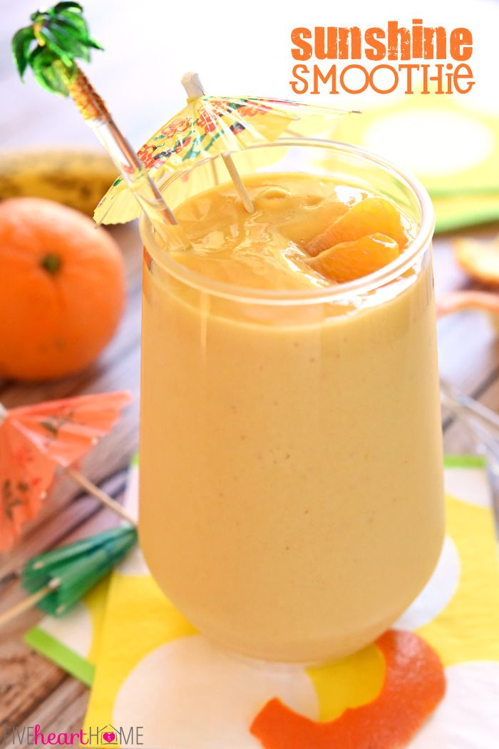 Sunshine Smoothie ~ this creamy, dreamy breakfast or snack is bursting with citrus and tropical fruit for a big blast of vitamin C to boost your immune system | FiveHeartHome.com
