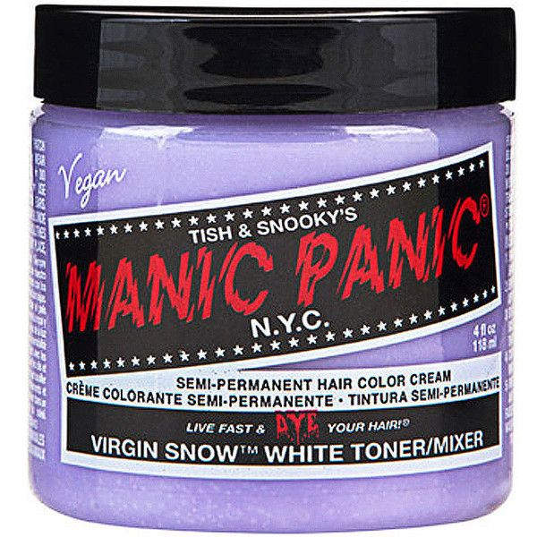 Manic Panic Virgin Snow hair dye, Virgin Snow hair dye, Manic Panic UK ($14) ❤ liked on Polyvore featuring beauty products, haircare, hair color, beauty, makeup, hair, hair dye and fillers