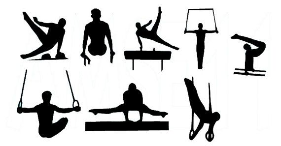 Male Gymnast Gymnastics Silhouette Die Cut Files by aerostitcher, $6.50