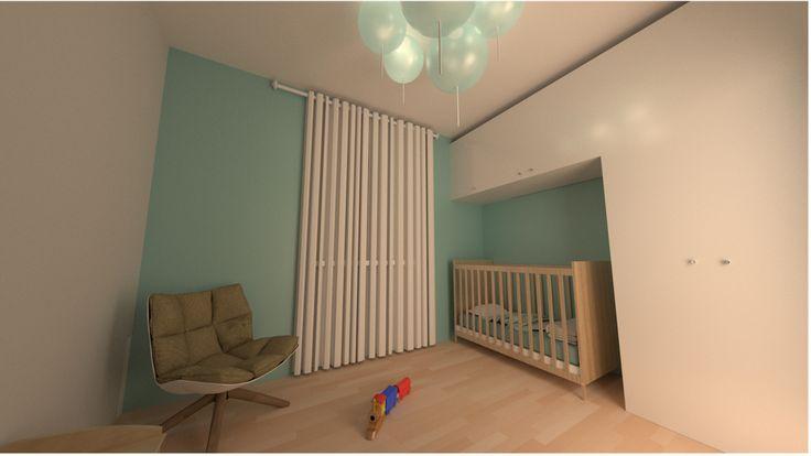 Bedroom modern design minimal wood black white 2016 render baby child kid ballon led light