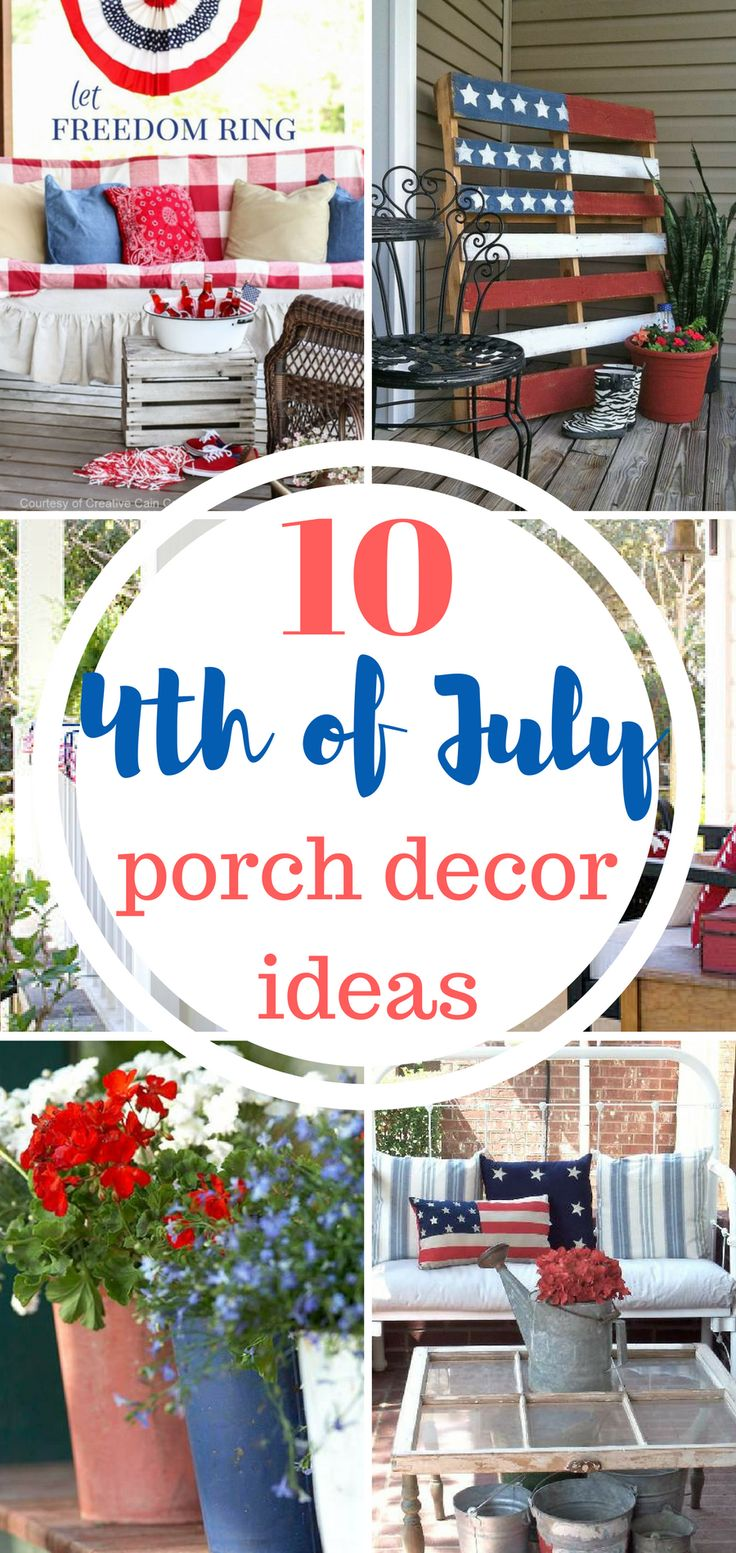 Summer will be here before you know it! Learn how to decorate your porch for the 4th of July! Summer, Summer Porch Decor, Summer Porch Decor Ideas, 4th Of July Decor, 4th of July Porch Decor Ideas, How to decorate for the 4th of July
