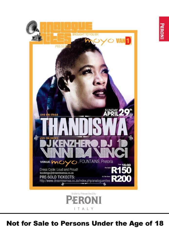 It's Official!! #ANALOGUENITES proudly presents the phenomenal Thandiswa Mazwai live on stage as well as the legendary Dj Vinny Da Vinci! Sunday 29 April at moyo Fountains! Not to be missed! Pre-sold ticket Link: http://bit.ly/I6n0Ba .. with Peroni South Africa