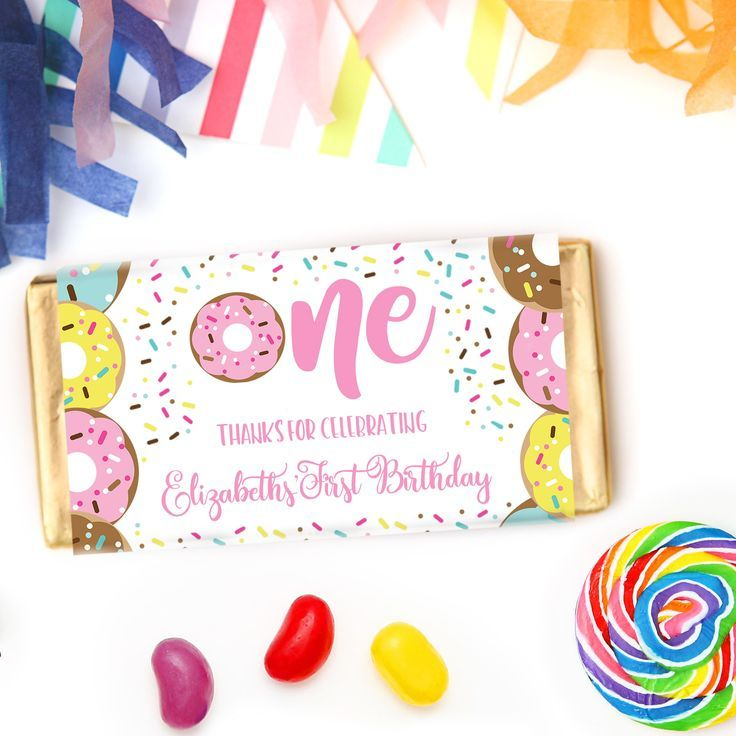 Donut Chocolate Bars | Personalised Chocolate Bars for Donut Party Favours     Click to see details and for more matching donut party stationery from Print & Party. #donutparty