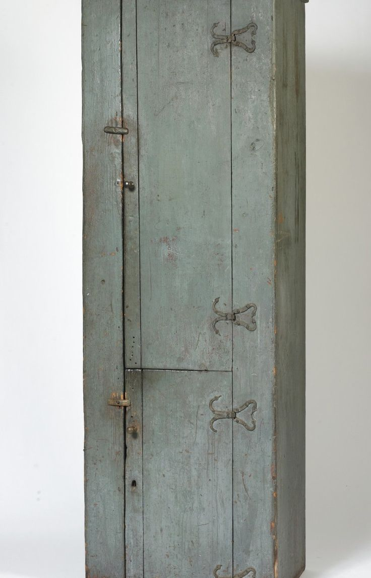 Standing two door pine cupboard in an early blue-painted finish with forged  iron hinges New England, late eighteenth century. - 62 Best Chimney Cupboards, My Favorite! Images On Pinterest