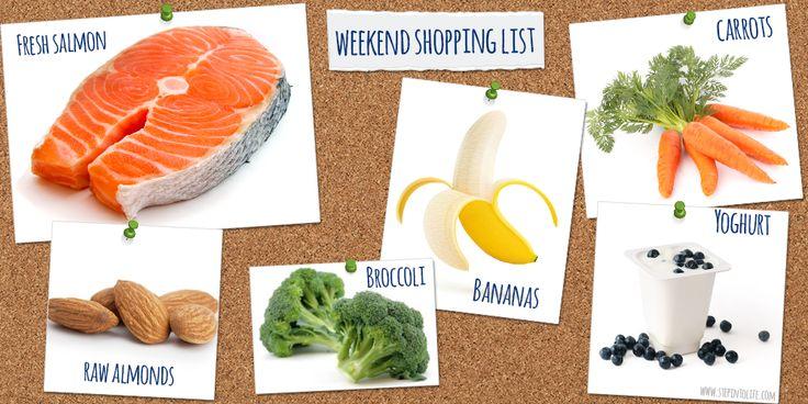 Healthy grocery shopping list - salmon, broccoli, bananas, almonds, carrots, and yoghurt. Yum!