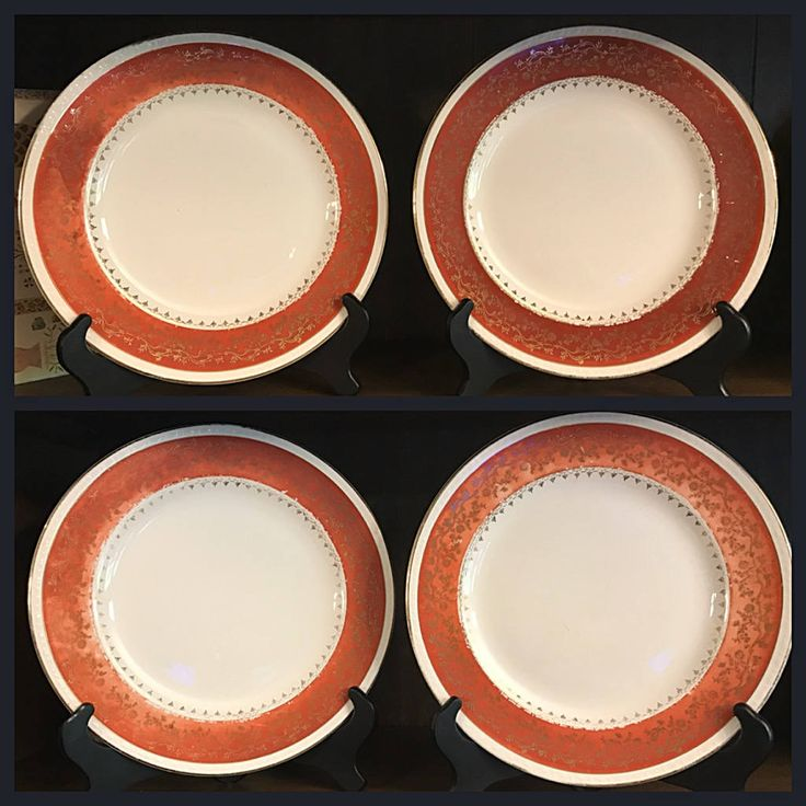 Vintage Set of 4 Dinner Plates By Craftsman In - 18 Carat Gold - Orange - Homer Laughlin by StaceysHutch on Etsy