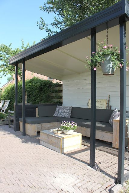Perfect side of garage solution to creat shaded living space.