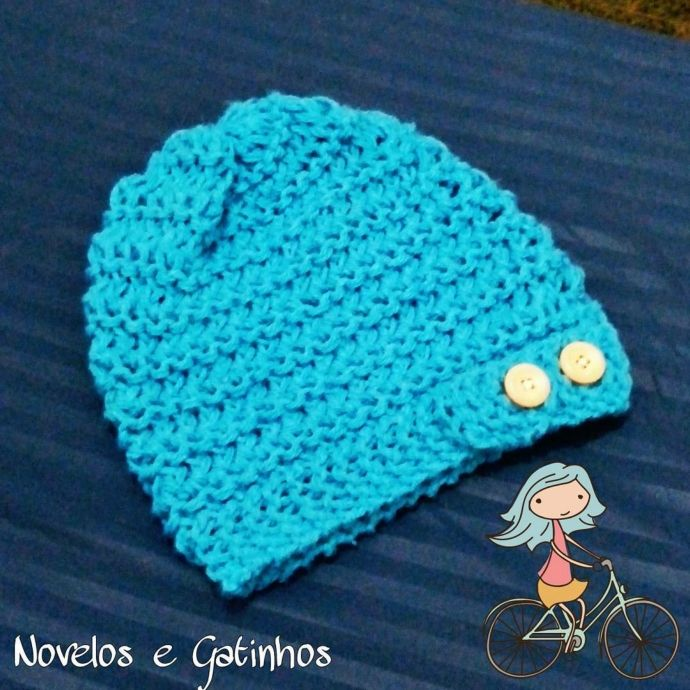 Loom knitted beanie with buttons by @_jessicats