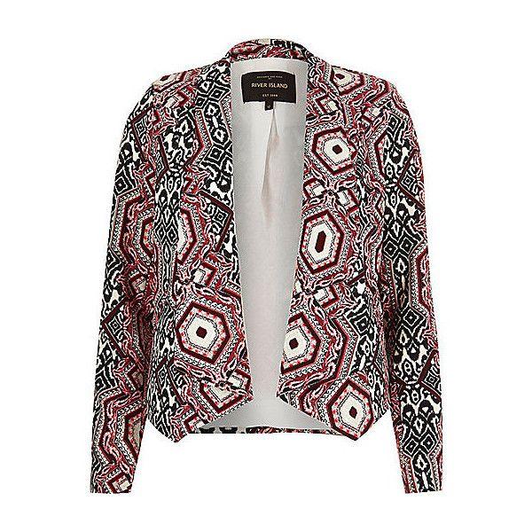 Roter bedruckter Blazer (€80) ❤ liked on Polyvore featuring outerwear, jackets, blazers, lightweight blazer, lined jacket, white blazer, white jacket et light weight jacket