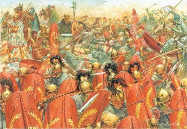The Battle of Carrhae was fought in 53 BCE between the Parthian Empire and the Roman Republic near the town of Carrhae. The Parthian Spahbod Surena decisively defeated a superior Roman invasion force under the command of Marcus Licinius Crassus. It is commonly seen as one of the earliest and most important battles between the Roman and Parthian empires and one of the most crushing defeats in Roman history.