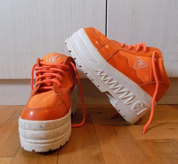 Vintage 90's Orange Techno Platform