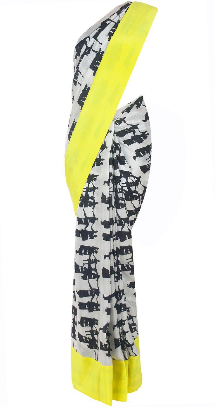 Black and white people print sari by MASABA. Shop at http://www.perniaspopupshop.com/whats-new/masaba-81