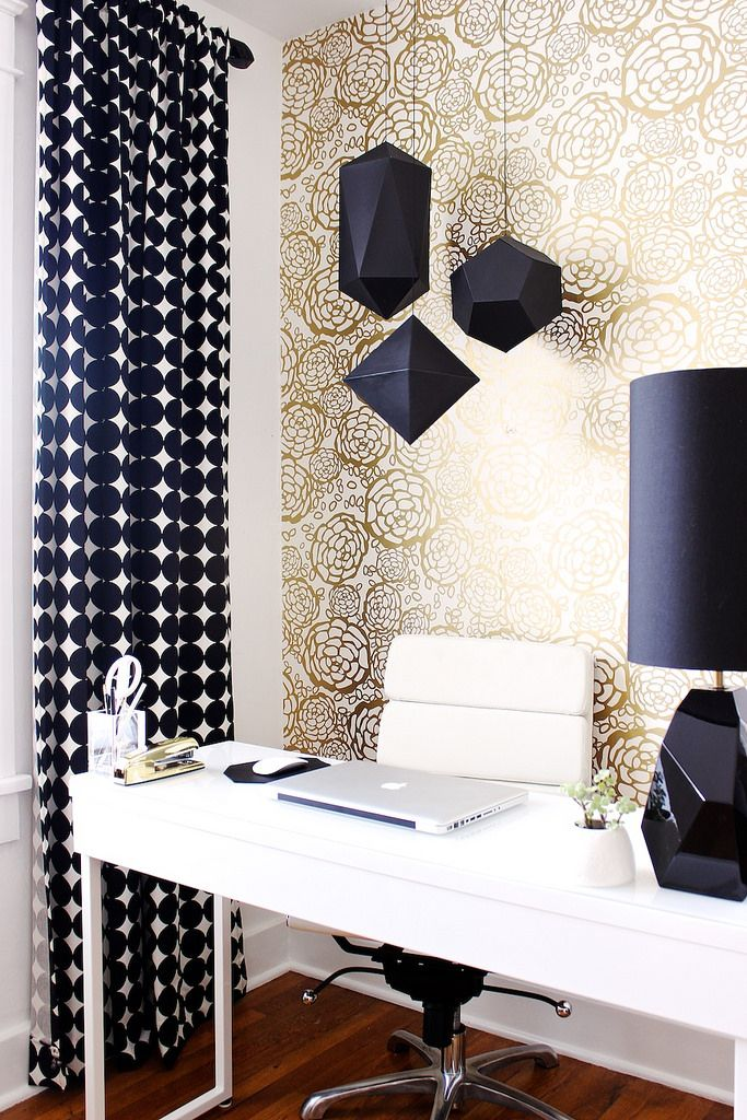 Best 25 white office ideas on pinterest white office for Gold home decorations