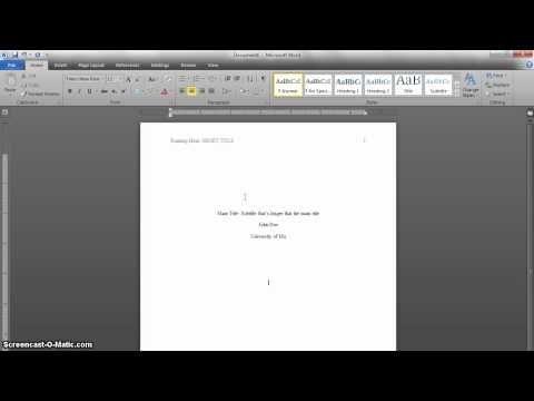 Microsoft Word 2010 APA Format Tutorial