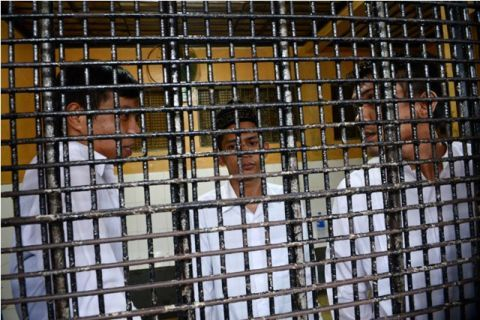 Tiga dari lima terpidana kasus pelecehan seksual di Jakarta International School (JIS). (Foto: MI/Panca)
