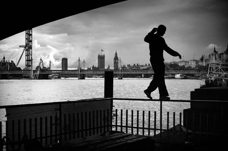 Parkour on the Southbank, London.