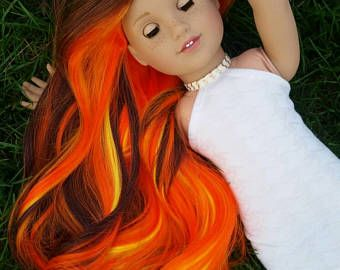 OOAK Custom American Girl Doll size wig in Campfire Stories