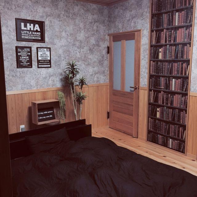 重厚な本棚柄だまし絵壁紙