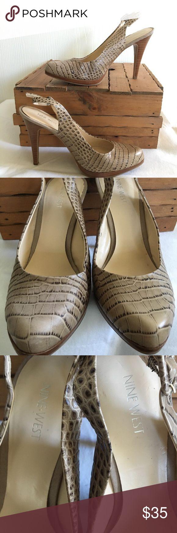 "Nine West Heels Preowned-Nine West embossed-snake like, tan platforms size 10, sling back with adjustable straps, 4.5"" heel, gently used, in very good condition ‼️😍 Nine West Shoes Heels"