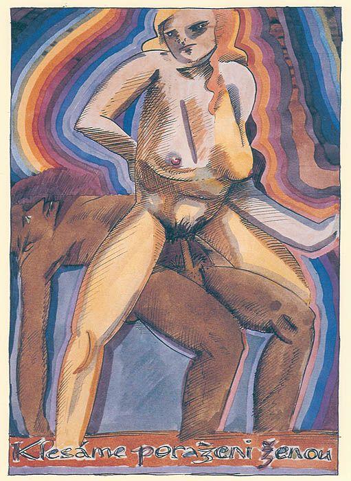 Josef Váchal, Klesáme poraženi ženou, 1922, kresba