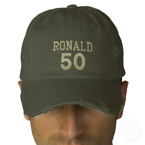 50 Birthday Custom Name KHAKI GREEN V03 Embroidered Hat Create your own hat you can personalize for any special occasion.  Add a name! See more at www.zazzle.com/jaclinart*/ #hats #embroidery #custom #birthday #create #diy