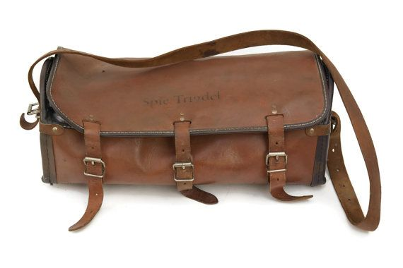Vintage Leather Tool Bag. Brown Leather Work by LeBonheurDuJour