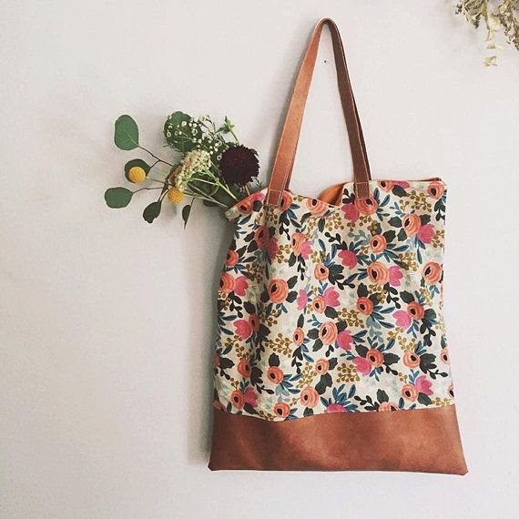 Floral Rifle Paper Co Fabric Tote The Amelia by SewBraveDesigns