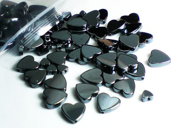 Hematite Heart Bead Mix 2 Sizes Non-Magnetic 100 by royalmetals