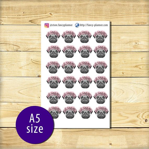 A5-018 Pug cute stickers A5 binder planner от StoreFancyplanner