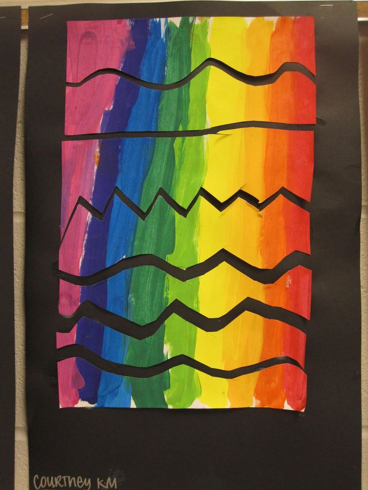 Kindergarten students did a great job with this project! We painted vertically in rainbow colors even using the intermediate colors! W...