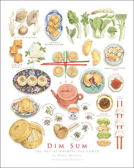 These watercolors are from the book Dim Sum: The Art of Chinese Tea Lunch, which I wrote and illustrated. The book was inspired in part by my