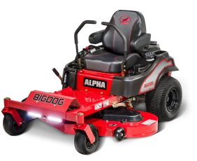 BigDog® Alpha top entry residential ZTR zero turn mower offers smoothest steering and commercial grade decks backed by industry leading 7 year limited warranty.