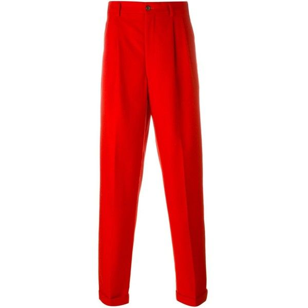 Comme Des Garçons Vintage tailored trousers ($359) ❤ liked on Polyvore featuring men's fashion, men's clothing, men's pants, men's casual pants, red, mens tailored pants, mens red pants, vintage mens pants, mens elastic waistband pants and mens 5 pocket pants