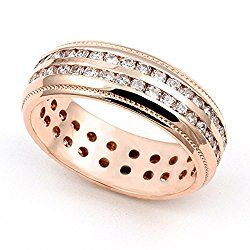 18k Rose Gold Channel Set Diamond Eternity Wedding Band Ring G H VS 1