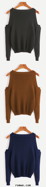 Open Shoulder Long Sleeve Sweater