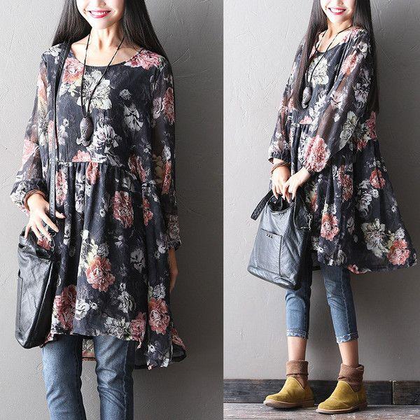 Women spring  printed chiffon dress - Tkdress  - 1