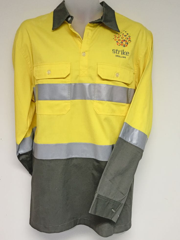Check out this yellow & khaki HI VIS cotton drill shirt that was designed for the team at Strike Drilling, Visit http://www.custom-made-workwear.com/ to design your own HI VIS cotton drill shirt