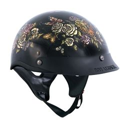 """Beautiful ladies motorcycle helmet, half shell style that is DOT approved with cute """"Key Lock Heart"""" graphics of floral design, butterflies and a key lock heart on front."""