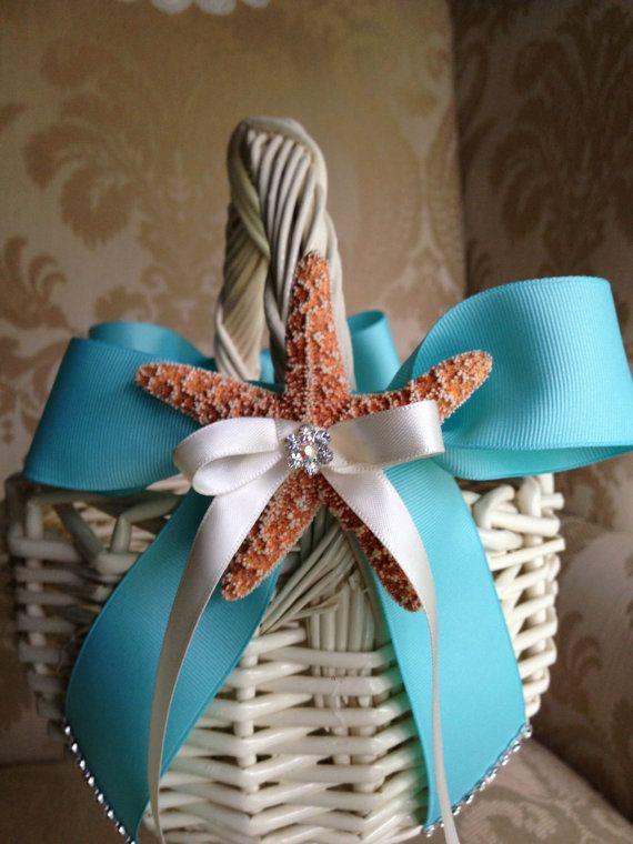 flower girl basket for beach wedding tiffany by TheCrystalFlower, $65.00