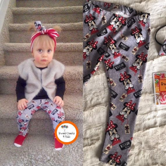 This sweet headband and legging set is made with a soft cotton spandex knit with a very good stretch! The fabric is a gorgeous grey background with red, black and white called 'Designed by Minnie'. Baby girls wearing this adorable set will set the style, wherever they go.