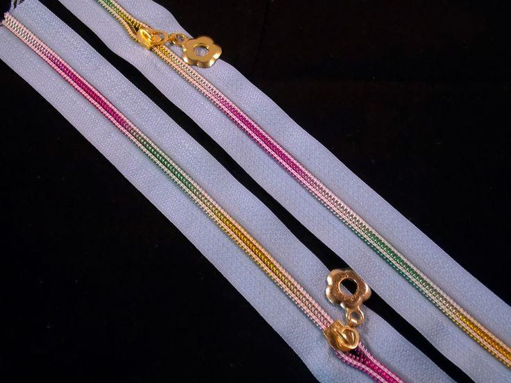 x1 Fermeture éclair coupé BLEUE effet multicolore fleurs 30 cm : Fermetures à glissières, Eclair par fairy-castle-shop