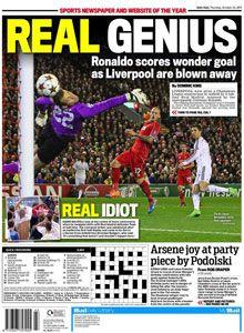 Victoria del Real Madrid 3-0 Liverpool. En el recuadro referencia a intercambio de camisetas en el medio de tiempo de Balotelli. 22 Oct 2014