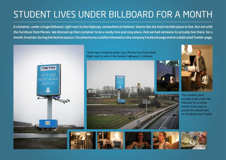 Student Lives Under a Billboard for a Month as a Promotional Stunt for Morres Furniture Store in Holland