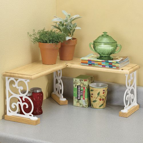 Corner Kitchen Sink Organizers: Wood & Iron Kitchen Bathroom Counter Corner Shelf