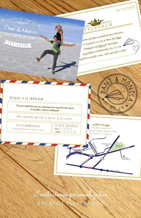 Invitaciones viajeras con foto retocada & mapa personalizado! #personalizacion #invitaciones #boda