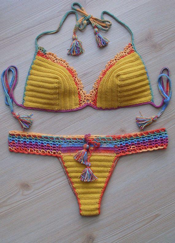 FREE SHIPPING!!! Full Lined Crochet Colorful Bikini, women bikini set, swimwear, 2016 Summer Trends, Gifts For Her !!! FORMALHOUSE