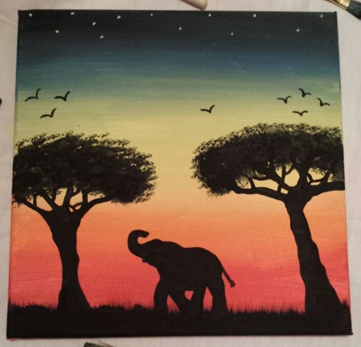 easy elephant paintings - Google Search