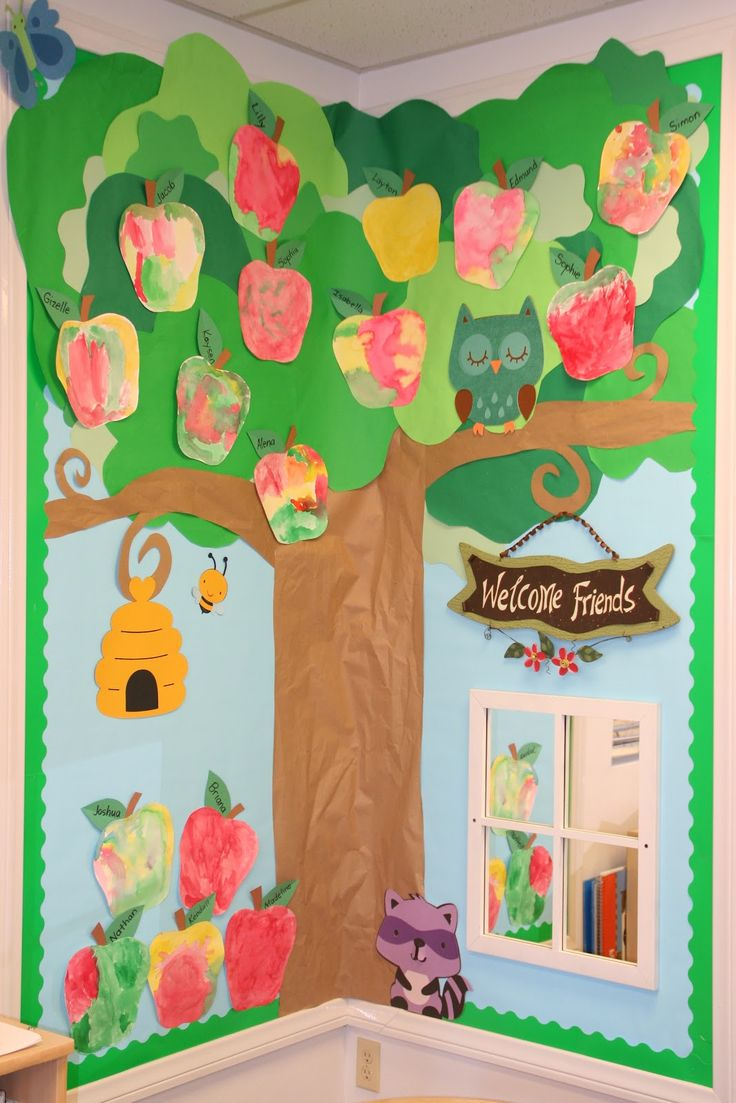 September water color apple tree preschool beginning for Apple tree classroom decoration